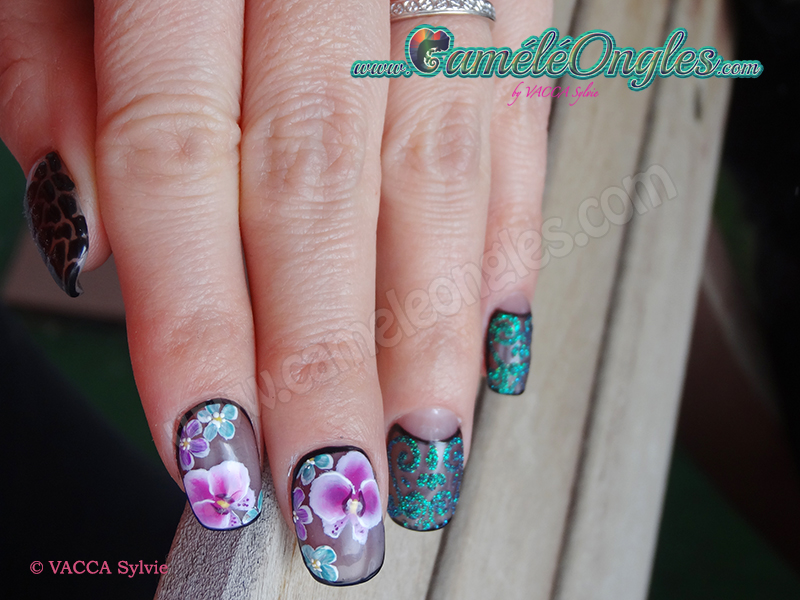 Pose en gel-one stroke en gelpaint et sugar effect-2